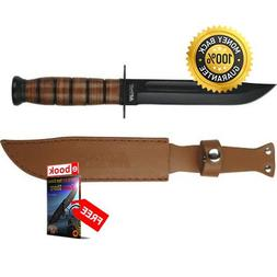 Tactical M tech 122 12'' Fixed Knife Leather Wrapped Handle