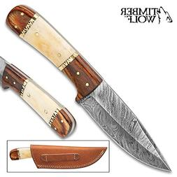 Timber Wolf Workhorse Fixed Blade Knife - Damascus Steel Bla