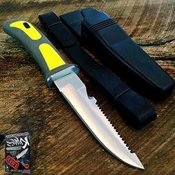 """9"""" YELLOW Scuba Diver Elite Knife Dive Aqua Gear Leg/Arm Str"""