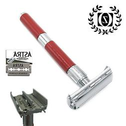 ZEVA LONG HANDLE DE SAFETY RAZOR BUTTERFLY OPENING FOR MEN +